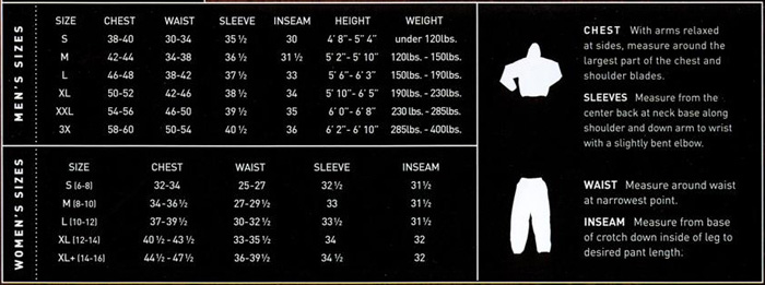 Frogg Toggs Sizing Chart